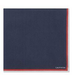 LANVIN Striped border silk pocket square. #lanvin #pocket squares