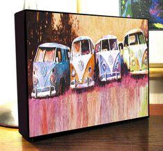 "Volkswagen Hippie Bus Van Art Canvas Print On Gallery Wrap Canvas 8x10x1.5"""