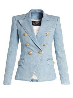 Balmain Blue Runway Double Breasted Denim Gold Button Jacket 40 Blazer Size 8 (M) off retail Balmain Blazer, Balmain Jacket, Diy Vetement, Denim Blazer, Modelos Plus Size, Double Breasted Jacket, Tailored Jacket, Jacket Buttons, Denim Fashion