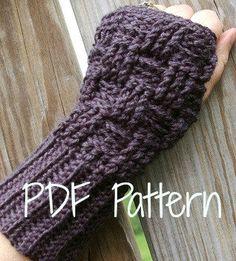 Crochet Pattern Fingerless Gloves Basketweave Pattern. $5.00, via Etsy.