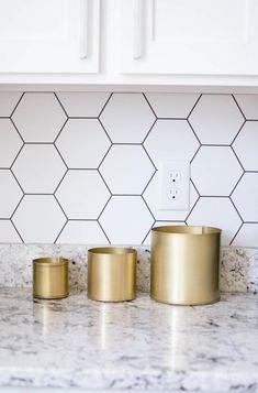 Hexagon Backsplash – B Darling Decor Hexagon Tile Backsplash, Hexagon Tiles, Kitchen Tiles, New Kitchen, Kitchen Decor, Wallpaper Backsplash Kitchen, Kitchen Backsplash Peel And Stick, Herringbone Backsplash, Backsplash Ideas