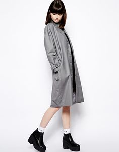 $146, Grey Trenchcoat: Trench Coat by The Whitepepper. Sold by Asos. Click for more info: http://lookastic.com/women/shop_items/164111/redirect
