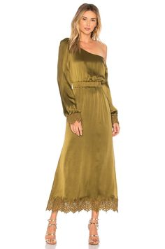 Stone Cold Fox Brighton Gown In Green Stone Cold Fox, Gowns Online, Army Green, Brighton, Lace Trim, Silk, Chic, My Style, Unique