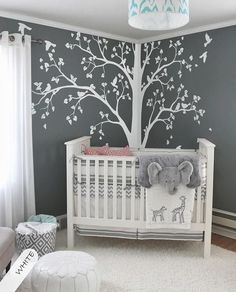 Large tree decal Huge White Tree wall decal Stickers Corner Wall Decals Wall Art Tattoo Wall Mural Decor – 086 Baby room – Home Decoration Deer Nursery, Nursery Wall Decals, Girl Nursery, Girl Room, White Nursery, Themed Nursery, Nursery Stickers, Nursery Tree Mural, Dark Gray Nursery