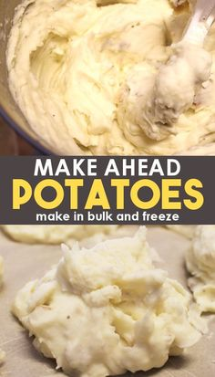 The Easiest Way to Freeze Mashed Potatoes - With Video Instructions!This easy mashed potatoes recipe is perfect for a crowd at Thanksgiving or any large event! You can freeze them in single serving sizes, or in a large pan that can be oven bak Homemade Mashed Potatoes Recipe, Perfect Mashed Potatoes, Making Mashed Potatoes, Mashed Potato Recipes, Thanksgiving, Potato Side Dishes, Frozen Meals, Cooking Recipes, Freezer Cooking