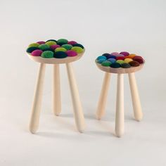 """Norway-based designer Aud Julie Befring has created the """"Cool with Wool"""", a stool inspired by the lambs on the spring fields. The stool is made in birch and felted wool. Chair Design, Furniture Design, Building Furniture, Kid Furniture, Bathroom Furniture, Norway Design, London Design Festival, Wool Felt, Felted Wool"""