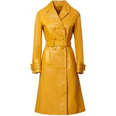 BOTTEGA VENETA LEATHER LONG TRENCH COAT (1,760 ILS) ❤ liked on Polyvore featuring outerwear, coats, leather trenchcoat, yellow coat, long coat, yellow trench coat and real leather coats