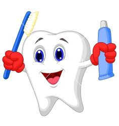 Illustration about Illustration of Tooth cartoon holding toothbrush and toothpaste. Illustration of dental, drawing, education - 36398674 Teeth Health, Healthy Teeth, Oral Health, Dental Health, Dental Hygiene, Dental Care, Dental Kids, Tooth Cartoon, Dental Posters