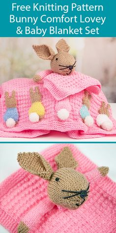 Besten 6 Stricken : Free Knitting Pattern for Bunny Lovey and Baby Blanket Set and more Animal Blanket Patterns Baby Knitting Patterns Free Newborn, Teddy Bear Knitting Pattern, Animal Knitting Patterns, Free Baby Blanket Patterns, Baby Patterns, Free Knitting, Knitting For Charity, Knitting Designs, Doll Patterns
