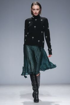 Black Sweater with a Sea Green Lightweight Skirt - Anouki Kiev Fall 2016 Fashion Show