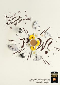 Twinnings ad with lovely lettering made by tea. Awesome dimensionality in a 2D ad! Alison Carmichael » Moods