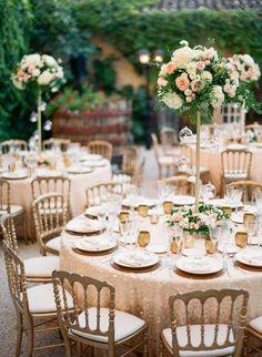 La Tavola Fine Linen Rental: Brooklyn Nude over Topaz White | Photography: Greg Finck, Event Planning & Design: Lavender and Rose, Floral Design: Miss Rose by Perrine, Venue: Chateau De Robernier