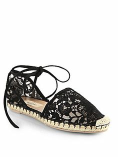 Valentino Heavy Lace Tie-Up Espadrille Flats
