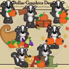 Fall Skunks Clip Art Set - *DGD Exclusive* - Created by Kristi W. Designs - Great for printable crafts, scrapbooking, embroidery patterns, and more! www.DollarGraphicsDepot.com