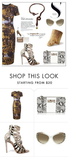 """""""Animal Print-Snake"""" by letiperez-reall ❤ liked on Polyvore featuring McQ by Alexander McQueen, River Island, Schutz, Roberto Cavalli, Boucheron, THE COBRA SNAKE, snakeprint, cobra and animalprint"""