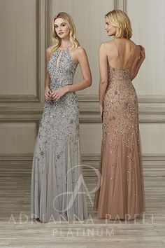 dd43d5f73d Adrianna Papell Platinum Bridesmaids 40143 This all over beaded gown  features a small
