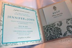 DAMASK - Beautiful damask theme inspired invitation in Aqua and Gold. www.agiftfromchloe.com #vintage_invitations #gold-aqua_wedding #gold_invitations #damask_invitations #vintage_wedding #gold-aqua_wedding