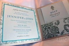 DAMASK - Beautiful damask theme inspired invitation in Aqua and Gold. www.agiftfromchloe.com  #gold-mint_wedding #gold_invitations #romantic_wedding #vintage_wedding