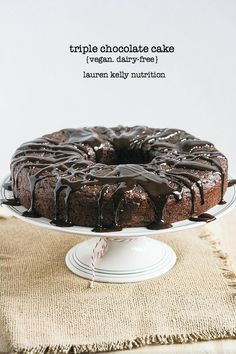 This decadent Triple Chocolate Cake is vegan and packed with protein!  #ILoveSilkSoy