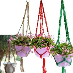 Hemp rope hanging net, fabulous temperament, easy to create a sense of interior space, but also very practical Oh what plants can be used to hang a hanging. 1 x Jute Plant Pot Hanger. -Inspired by the ancient Chinese craft of rope, extensive selection of natural materials of hemp rope, create simple natural temperament to hold a symbol of vitality beautiful bonsai plants. | eBay!