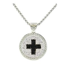 Cross Micro Pave Crystal Chameleon Ball Marker Necklace