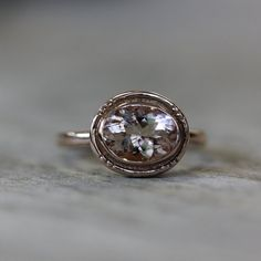 Recycled Sterling and Morganite Oval Halo Ring by onegarnetgirl, $328.00