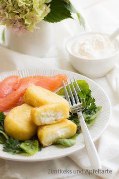 Gefüllte Kartoffeltaschen mit Lachs und Meerrettich-Frischkäse-Dip