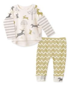 """Look what I found on <a class=""""pintag searchlink"""" data-query=""""%23zulily"""" data-type=""""hashtag"""" href=""""/search/?q=%23zulily&rs=hashtag"""" rel=""""nofollow"""" title=""""#zulily search Pinterest"""">#zulily</a>! Tesa Babe Gray & Ivory Zigzag Woodland Top & Pants Set - Infant by Tesa Babe <a class=""""pintag searchlink"""" data-query=""""%23zulilyfinds"""" data-type=""""hashtag"""" href=""""/search/?q=%23zulilyfinds&rs=hashtag"""" rel=""""nofollow"""" title=""""#zulilyfinds search Pinterest"""">#zulilyfinds</a>"""