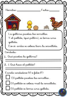 Textos cortos. Lecturas comprensivas - Imagenes Educativas Spanish Class, Learning Spanish, Parts Of Speech, Reading Comprehension, Speech Therapy, Learning Activities, Acting, Homeschool, Language