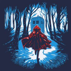 Little Red Riding Hood Tardis Doctor Who T-Shirt Funny Cheap Tees TextualTees.com - 1