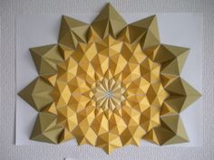 First one which i used CAD and drawing software to make. 3d Paper Art, Diy Paper, Paper Crafts, Paper Mosaic, Mosaic Wall, Origami Wall Art, Solid Geometry, Drawing Software, Paper Folding