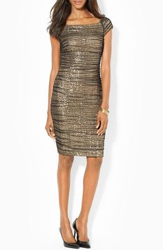 Lauren Ralph Lauren Sequin Mesh Ruched Sheath Dress