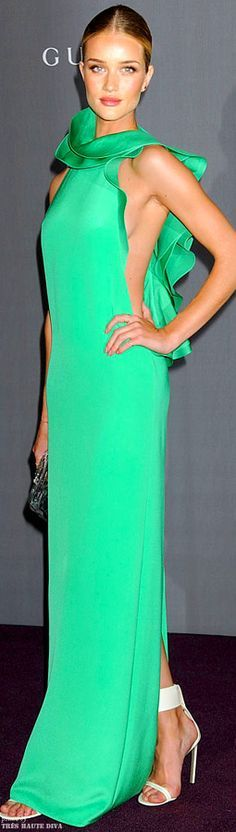 Red Carpet Glamour: Rosie flawless in green Gucci Gown | Researched By The House of Beccaria#