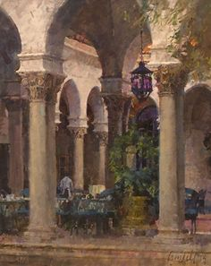 """At the Athenaeum by James Crandall Oil ~ 30"""" x 24"""""""