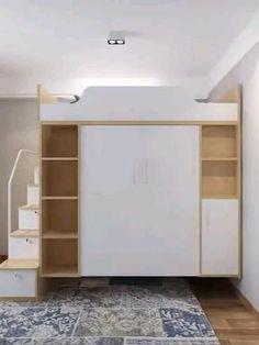 Loft Beds For Small Rooms, Bedroom Decor For Small Rooms, Small Apartment Bedrooms, Room Decor Bedroom, Bedroom Divider, Wardrobe Design Bedroom, Bedroom Bed Design, Girl Bedroom Designs, Home Room Design