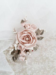 This beautiful handmade bridal hair comb made with handcrafted flowers and ivory glass pearls. Complement most wedding hairstyles. It is the perfect bridal headpiece for that woman who wants to simply sparkle on her wedding day. ♥ Size approx 12 сm x 7 сm (5 x 2.5 ) ♥ Timeless design and suits a range of bridal looks ♥ Flexible and bendable ♥ ATTACHES: secures easily with the attached small comb ♥ The bridal heapiece will be packed in a gift box ♥ Hand made in our studio  NOTE! Processing…