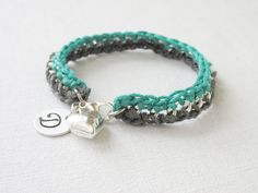 Teal & Grey Delicate Crochet Chain Bracelet by Foreverafterbeading