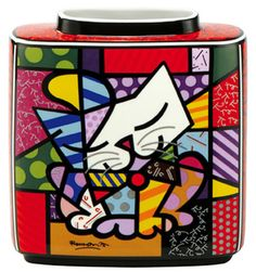Pop Art from Roman Britto. Porcelain Vase called Blue Cat. Man is this colorful!