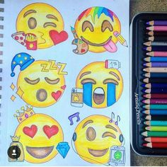 it is a drawing of diffrent emojis emoji drawing Emoji Drawings, Art Drawings Sketches, Kawaii Drawings, Disney Drawings, Easy Drawings, Social Media Art, Cute Emoji, Doodle Art, Cute Art