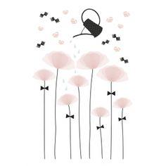 Wandtattoo 'Mohnblumen' puderrosa/schwarz 64cm