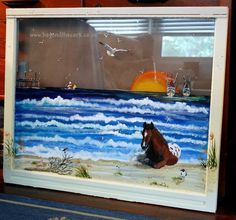 Assateague Beach- Hand Painted Window by Beyond the Cork. Contact sandshara@msn.com for pricing.