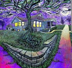 A trippy house in a higher dimension. Psychedelic Art, Mundo Hippie, Lsd Art, Trippy Pictures, Arte Peculiar, Trippy Drawings, Acid Trip, Trippy Wallpaper, Arte Obscura