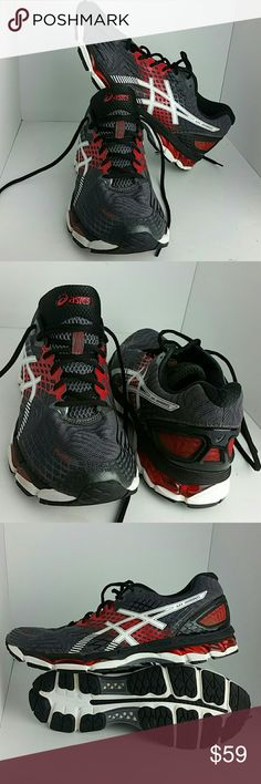 ASICS GEL-NIMBUS MEN'S SHOES VERY CLEAN INSIDE-OUT WITH A SCUFF ON THE BOTTOM SOLE OF THE LEFT SHOE SKE # NB asics Shoes Athletic Shoes