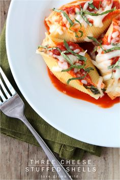 Three Cheese Stuffed Shells at https://therecipecritic.com These are deliciously cheesy and a meal that the entire family will love!