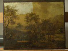 Bebost landschap met figuren - tijdens vernisafname - RestauratieatelierHaarlem.nl