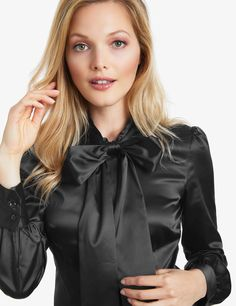 35cf76c51f5e Women's Black Fitted Satin Blouse - Pussy Bow | Hawes and Curtis Blouse  Sexy, Blouse