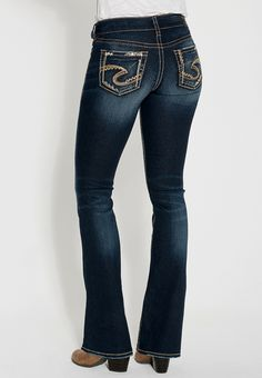 1fb9fa7d8b329b silver jeans co. ® suki fluid bootcut jeans with rhinestones Jeans Fit