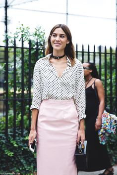 New_York_Fashion_Week_Spring_Summer_15-NYFW-Street_Style-Alexa_Chung-Marc_By_Marc_Jacobs-Pink_Skirt-Dots_Shirt-1