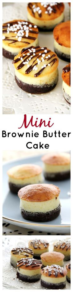 Brownie Butter Cake Recipe, in cupcake size. Sinful chocolate brownie topped with rich buttery cake on top, with chocolate sauce and sprinkles! Cupcake Recipes, Baking Recipes, Dessert Recipes, Cupcakes, Cupcake Cakes, Just Desserts, Delicious Desserts, Cookies Receta, Yummy Treats