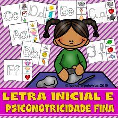 Letra Inicial e Psicomotricidade Fina   Alfabetização e Letramento Comics, Fictional Characters, Lp, Rhyming Activities, Fun Math Activities, Lesson Planning Templates, Yoga For Kids, Psicologia, Cartoons